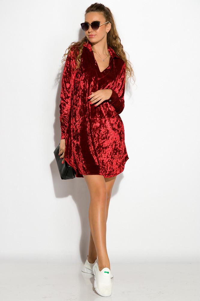 Платье женское велюровое 121P012 (Марсала)