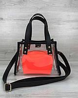 Прозрачная детская сумка 58202 через плечо с оранжевой косметичкой на лето
