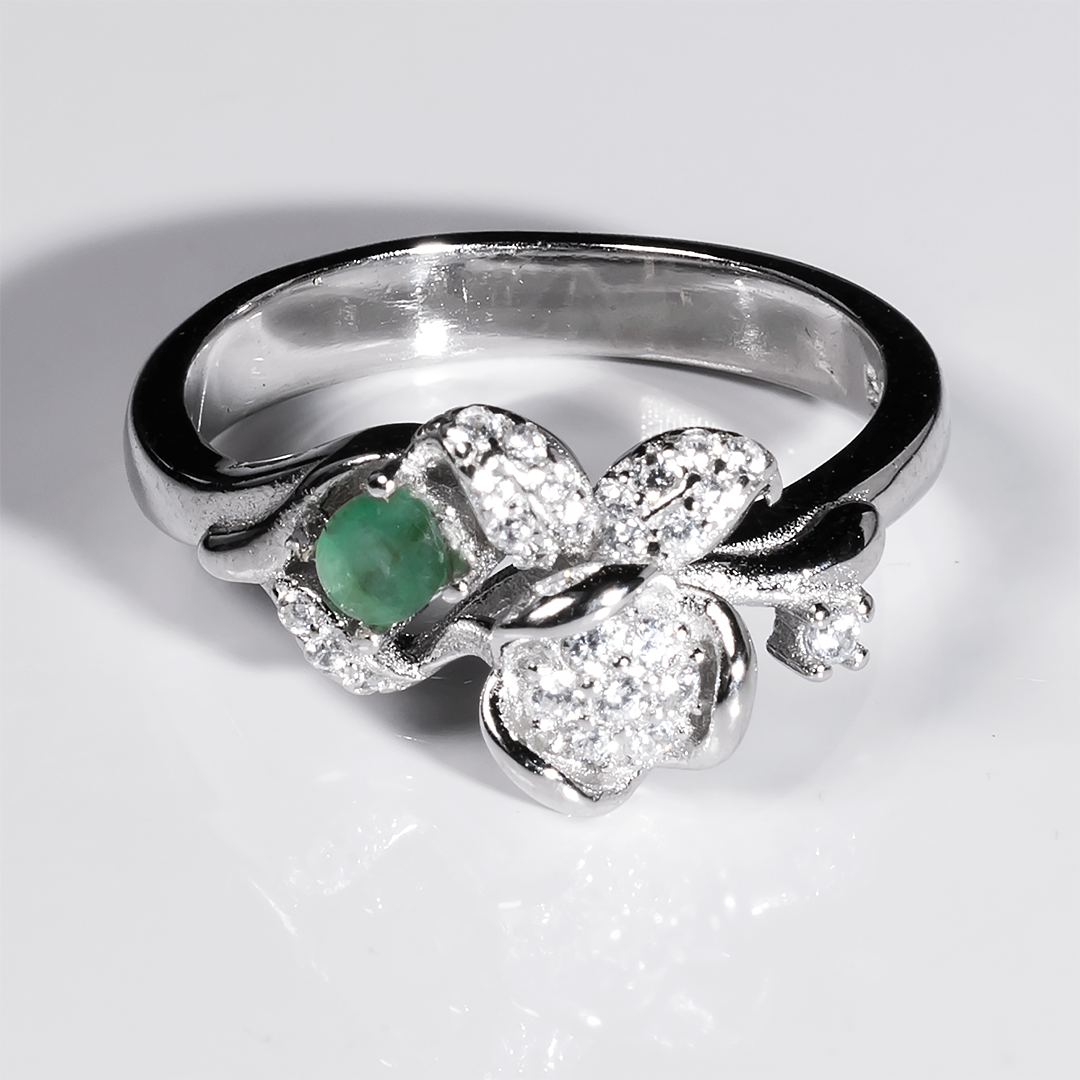Серебряное кольцо с изумрудом, 1409КИ