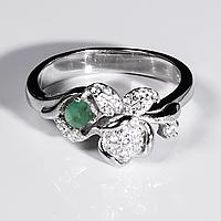 Серебряное кольцо с изумрудом, 1409КИ, фото 1