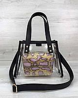 Детская прозрачная сумка с косметичкой 58201 силиконовая через плечо маленькая