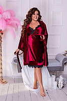 Женская велюровая ночная рубашка и халатик с кружевом большие размеры