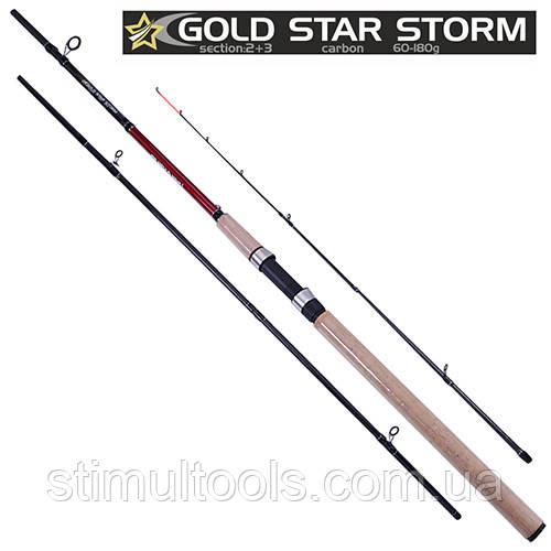 Спиннинг карповый штекерный фидер Gold star storm 3.9 м, 60-180 г, 2+3 к