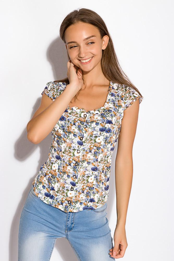 Блуза женская разноцветная 118P021 (Молочно-синий)