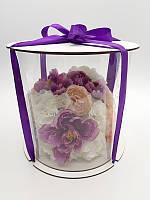Коробка для торта.Прозрачная коробка для торта тубус.Упаковка для торта тубус белый 25*25