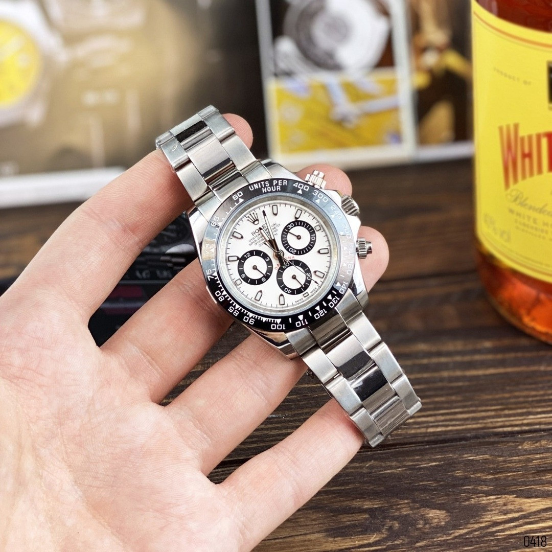 Часы механические копия ААА класса, Rolex silver - white