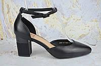 Кожаные женские туфли на устойчивом каблуке Molka