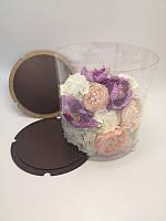 Коробка для торта.Прозрачная коробка для торта тубус.Упаковка для торта тубус венго 35*35