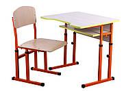 Комплект стол парта +стул ученический 1-местный антисколиозный  регулируемый по высоте №4-6 БЛО-ПЖО