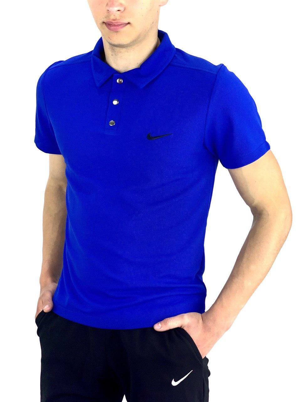 Футболка Поло Мужская синяя в стиле Nike (Найк)