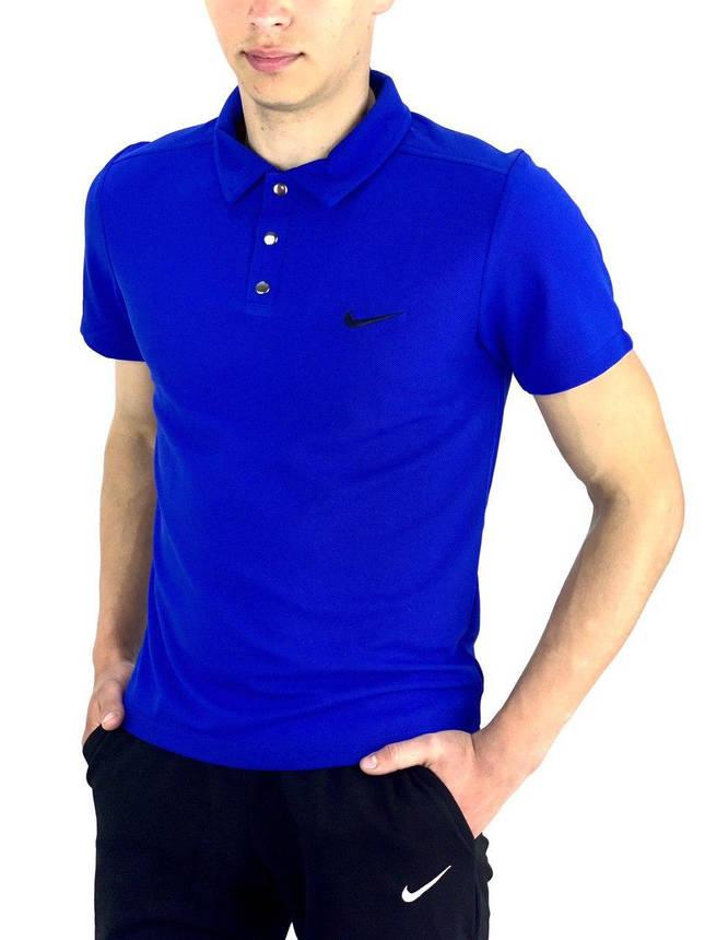 Футболка Поло Мужская синяя в стиле Nike (Найк), фото 2
