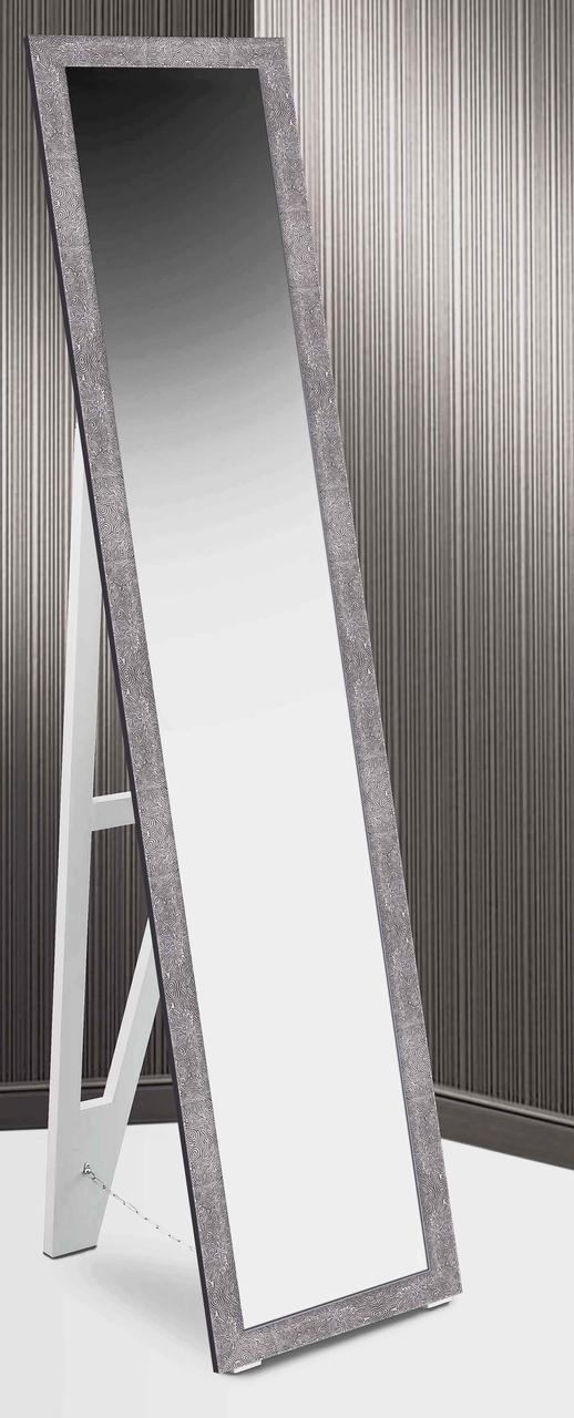 Зеркало напольное в раме Factura с деревянной подставкой Gray stone sea bottom 45х169 серый камень