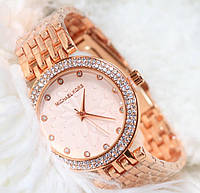 Наручные кварцевые часы HS0105 с металлическим браслетом золотистого цвета, фото 1