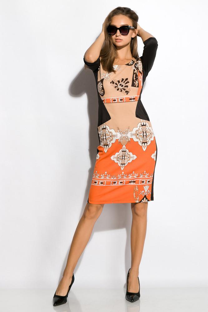 Платье женское 120P081 (Черно-бежевый)