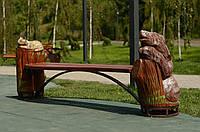 """Лавка з різьбленими скульптурами """"Кіт і ведмідь"""""""