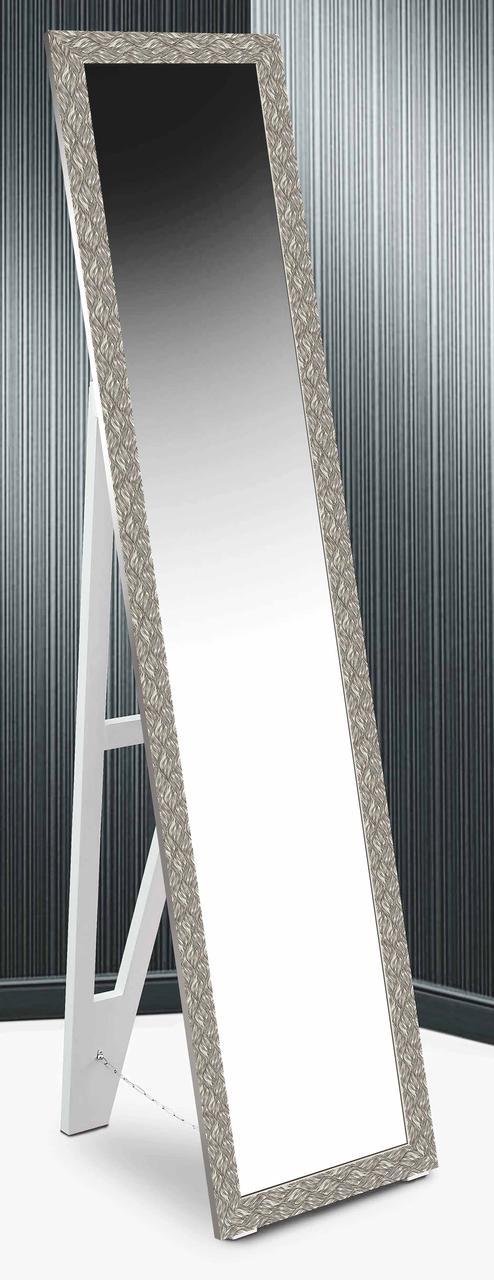 Зеркало напольное в раме Factura с деревянной подставкой Steel ripples 45х169 сталь