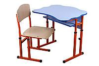 Комплект стол парта +стул ученический 1-местный антисколиозный  регулируемый по высоте №4-6 ГО-ХСО
