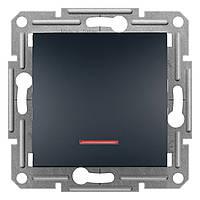 Выключатель одноклавишный проходной с подсветкой Schneider Electric Asfora 10A Черный антрацит (EPH1500171)