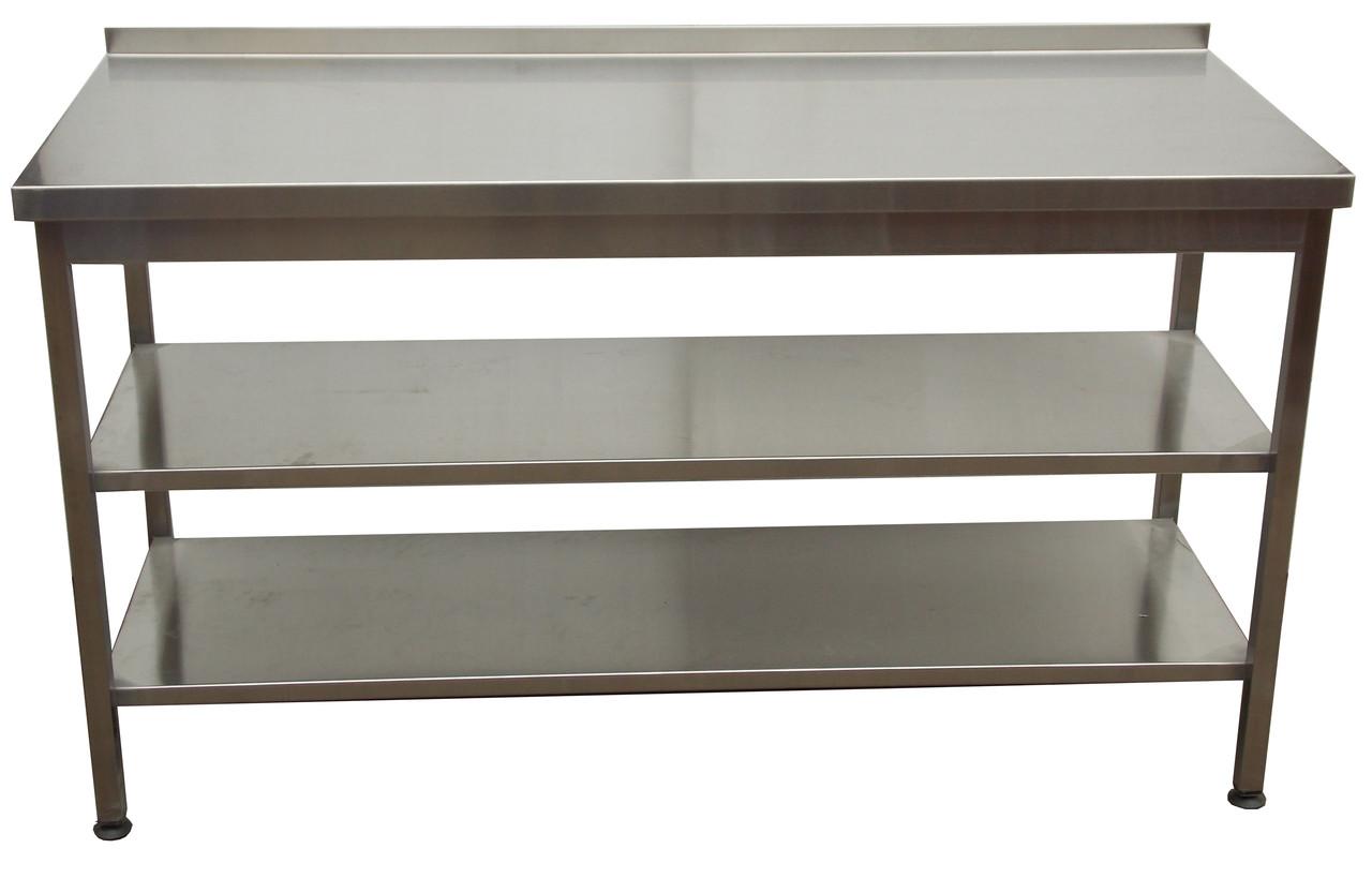Виробничий стіл з нержавіючої сталі з двома нижніми полицями 1300, 800, AISI 430