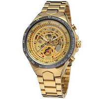 Мужские оригинальные механические часы Winner 8067 Gold-Black-Gold Red Cristal