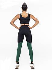 Костюм для фитнеса топ и лосины black&green&beige, фото 3