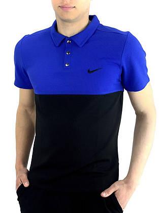 Футболка Поло черная-синяя + Шорты + Барсетка  в стиле Nike (Найк) Костюм летний, фото 3