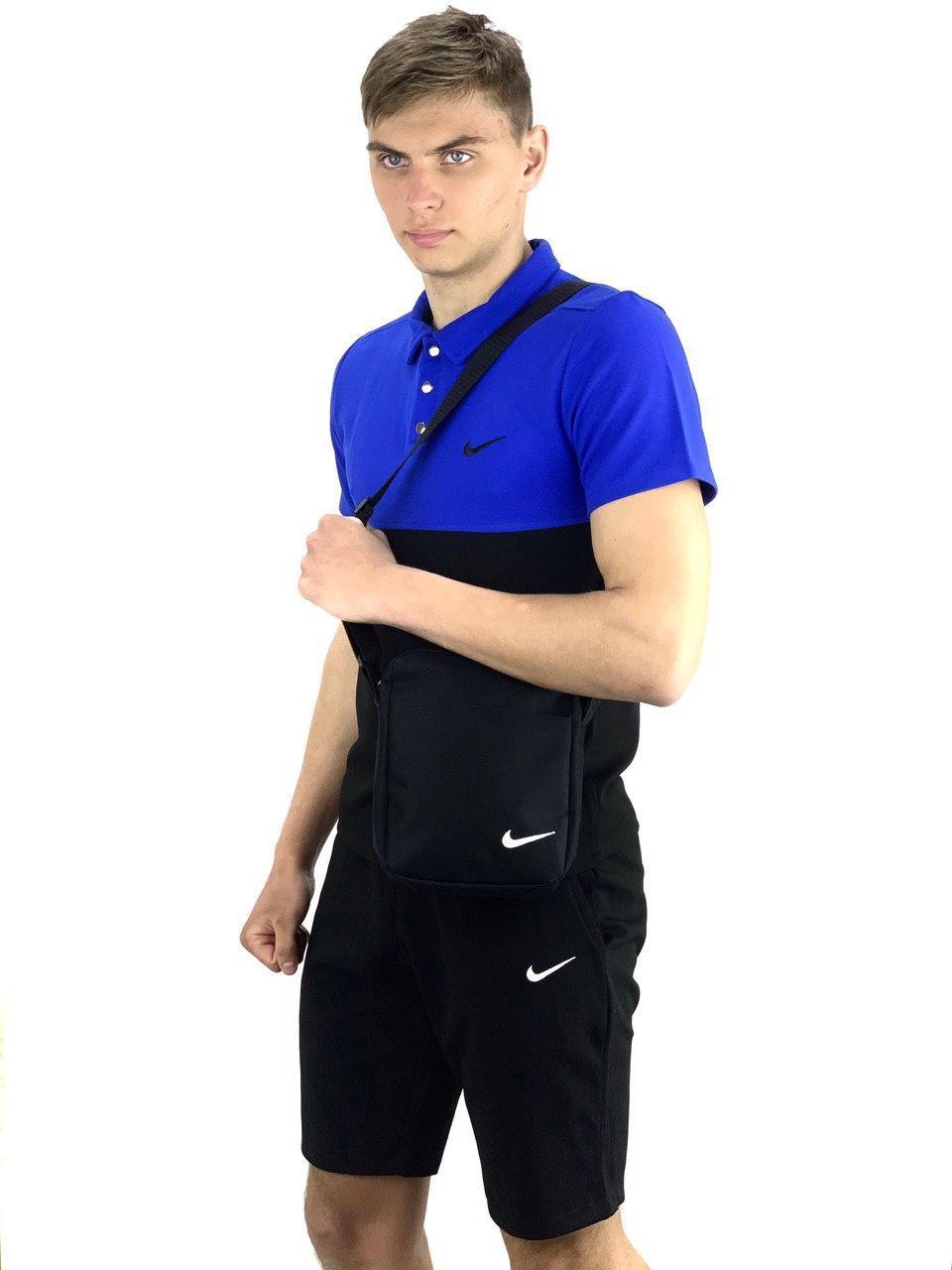 Футболка Поло черная-синяя + Шорты + Барсетка  в стиле Nike (Найк) Костюм летний