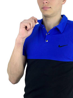 Футболка Поло черная-синяя + Шорты + Барсетка  в стиле Nike (Найк) Костюм летний, фото 2