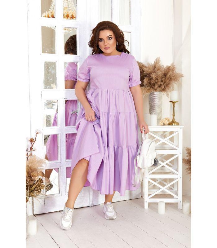 Женское повседневное ярусное платье из хлопка А-силуэта больших размеров 48-54