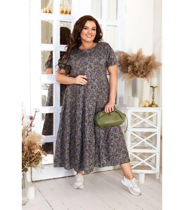 Женское повседневное ярусное платье из штапеля А-силуэта больших размеров 48-54