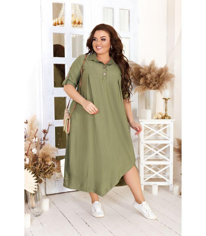Женское льняное платье-рубашка в стиле бохо больших размеров 48-54
