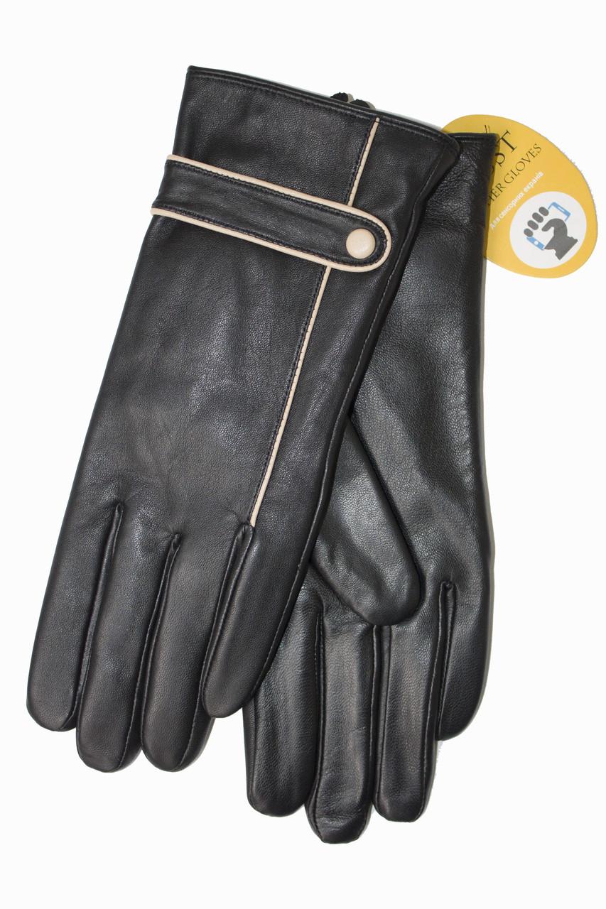 Женские кожаные черные перчатки Сенсорные Маленькие 4-841