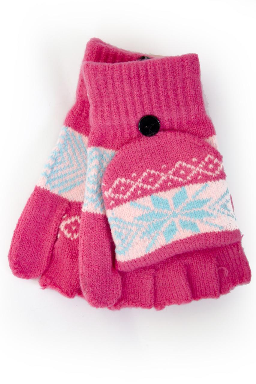 Трикотажные перчатки вязаные 5576-5 малиновый Митенка с варежкой