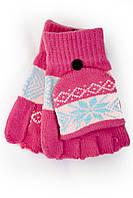 Трикотажные перчатки вязаные 5576-5 малиновый Митенка с варежкой, фото 1