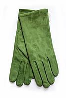 Женские замшевые зеленые перчатки Маленькие, фото 1