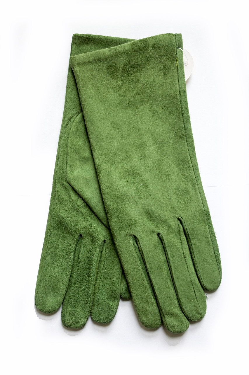 Женские замшевые зеленые перчатки Маленькие