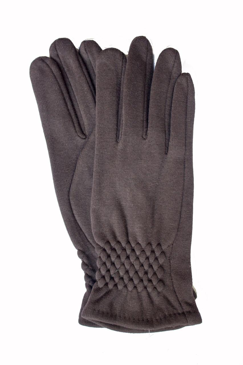 Женские стрейчевые перчатки темно-коричневые 123S3