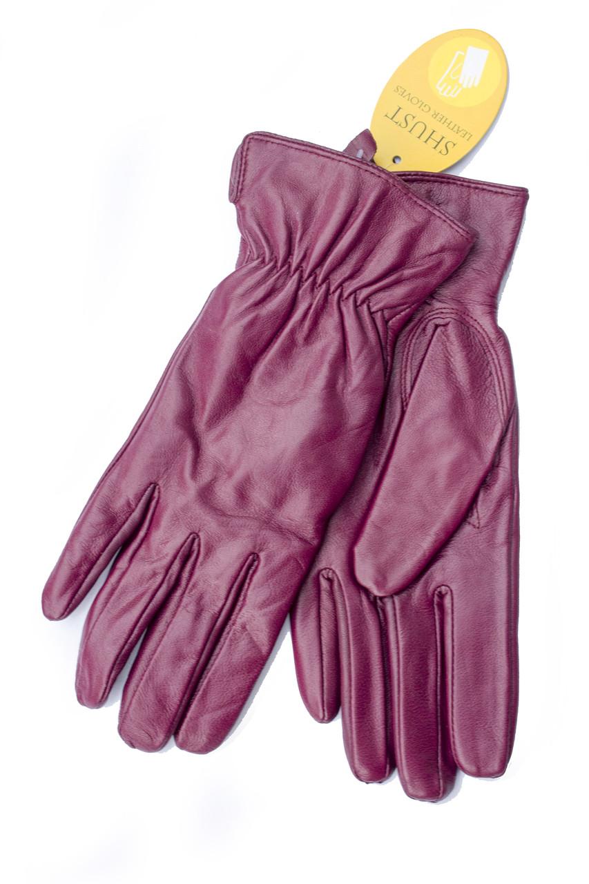 Женские кожаные перчатки бордовые 2-791