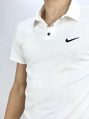 Футболка Поло белая + Шорты + Барсетка в стиле Nike (Найк) Костюм летний, фото 3