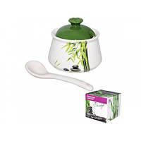 Сахарница с ложкой Зеленый бамбук 2241-01