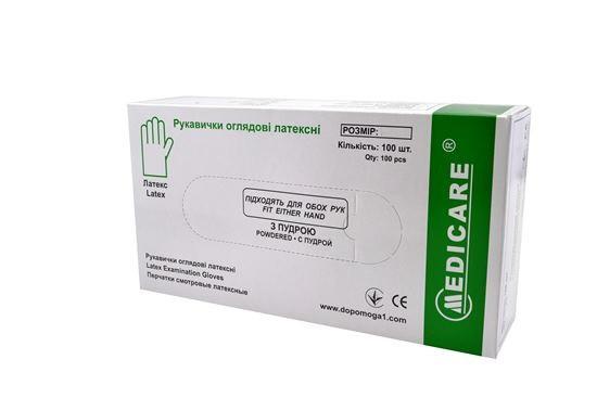 Перчатки латексные MEDICARE нестерильные смотровые опудренные, размер M