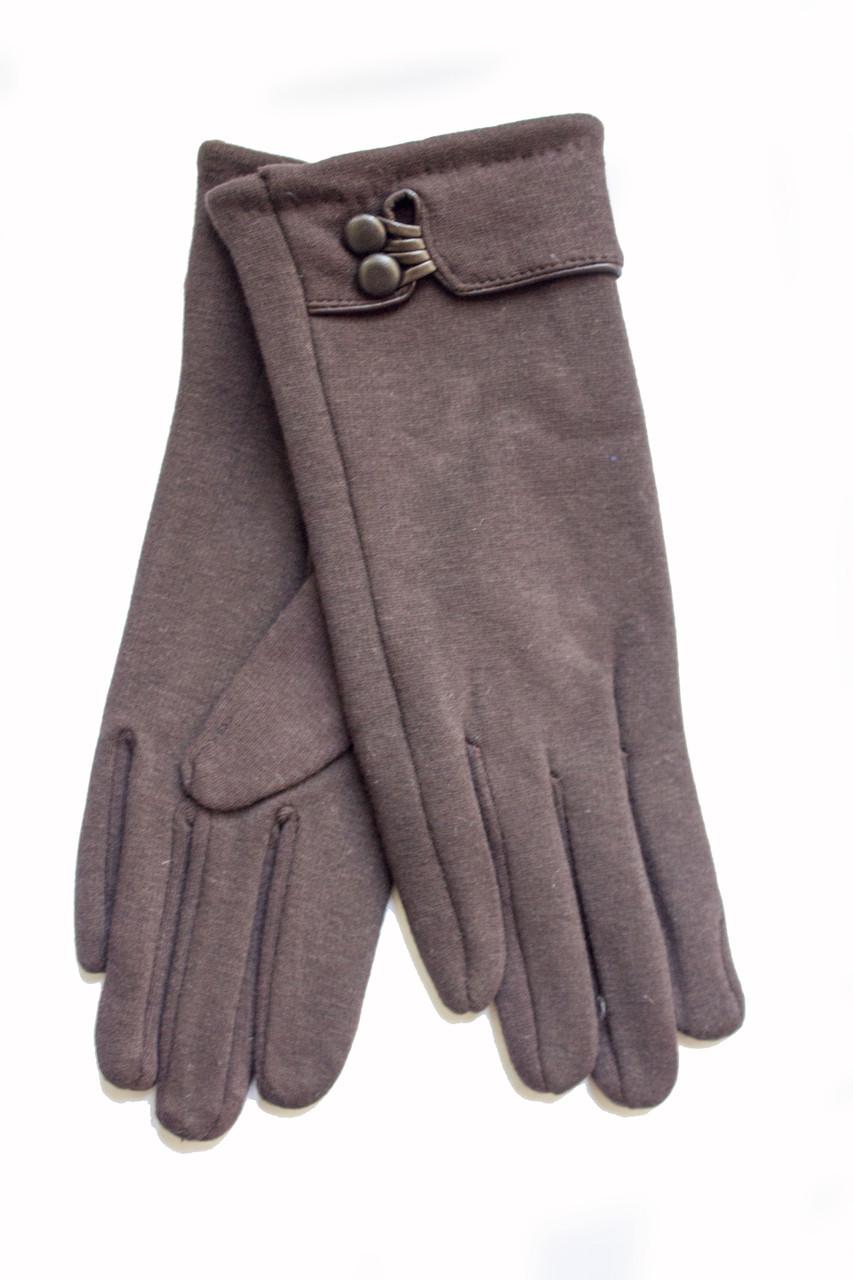 Женские стрейчевые перчатки темно-коричневые  124