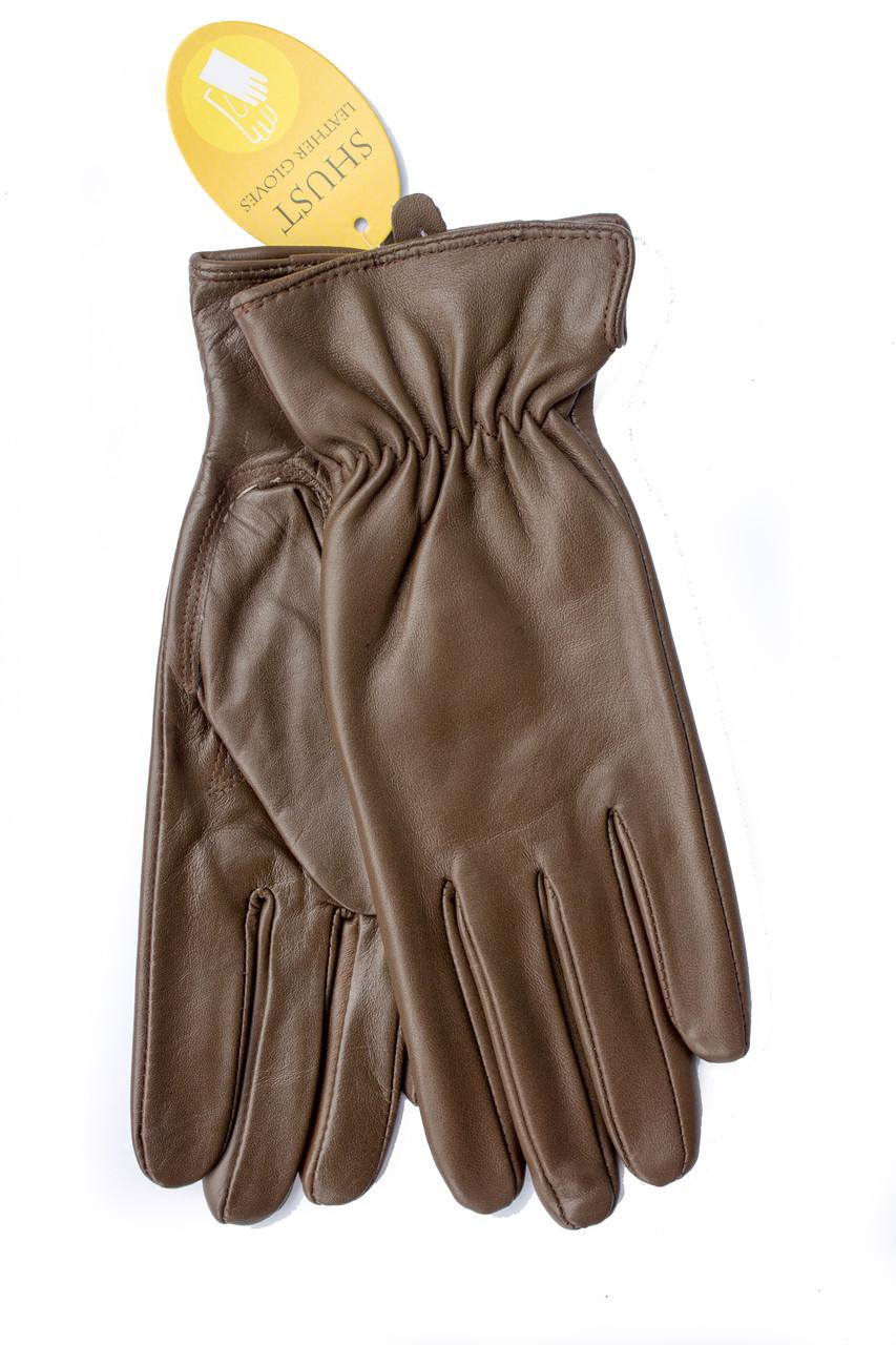 Женские кожаные перчатки коричневые 2-790