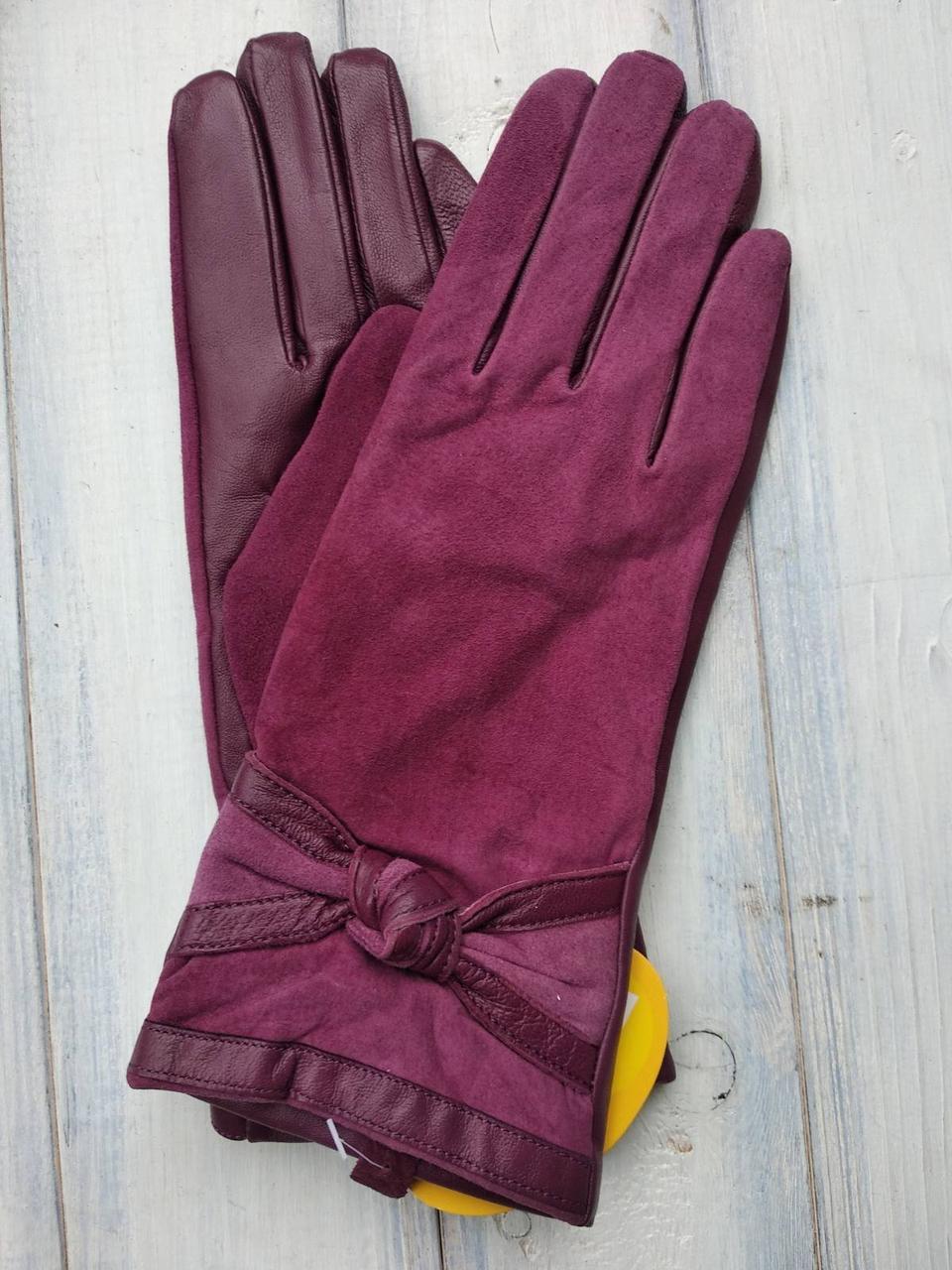 Женские комбинированные перчатки кожа+замша 719s1 Маленикие