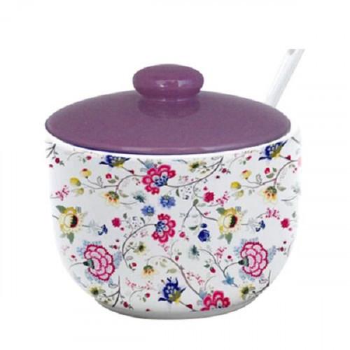 Сахарница Цветочный шелк 450мл с ложкой 2242-10
