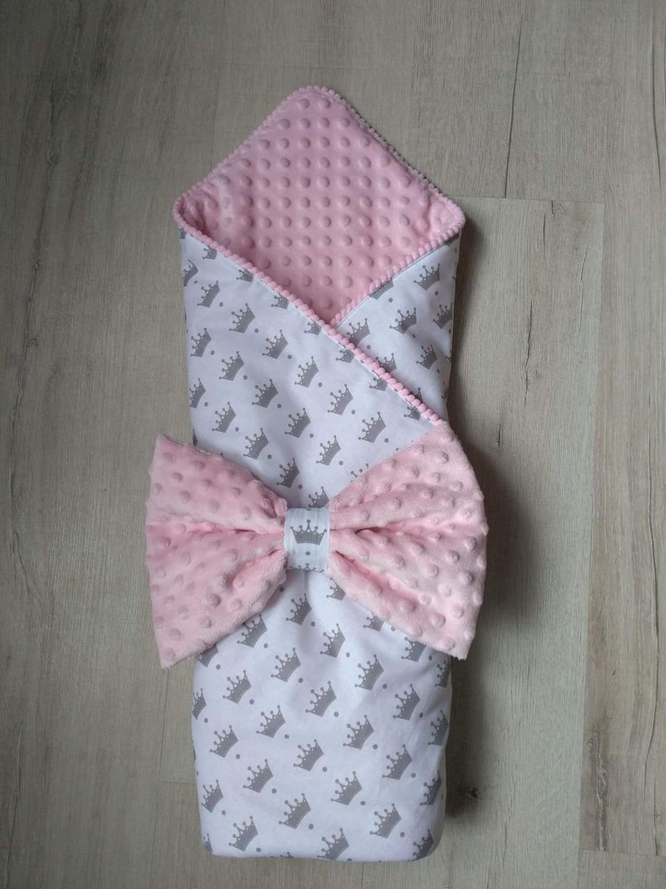 Конверт-одеяло для девочки Короны, польский хлопок, розовый