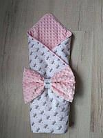 Конверт-одеяло для девочки Короны, польский хлопок, розовый, фото 1