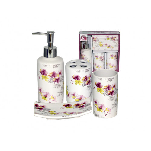 Набор аксессуаров для ванной комнаты S&T Орхидея 4 пр 888-06-007