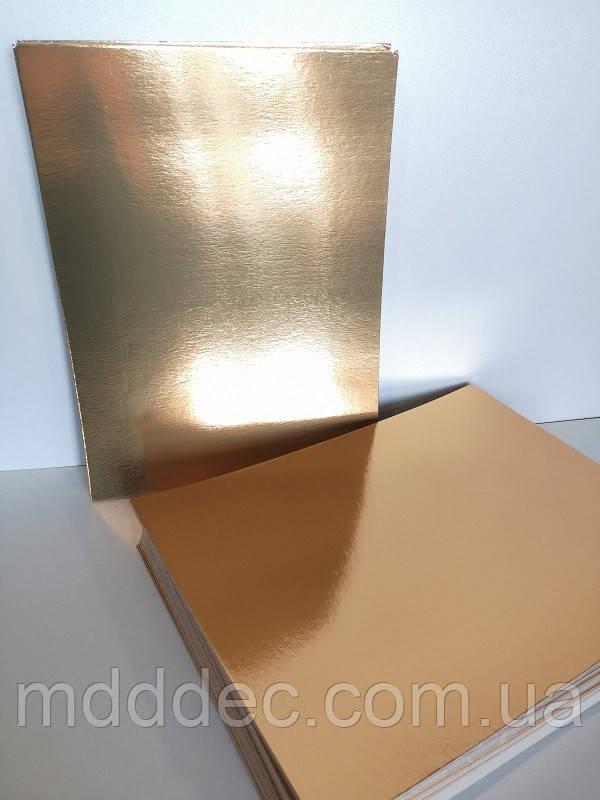 Подложка для торта 30*40 см.Золото/серебро из металлизированного микрогофрокартона