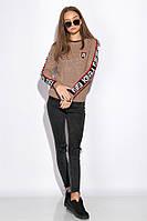 Свитер женский с контрастными вставками 120PVA001 (Светло-коричневый)